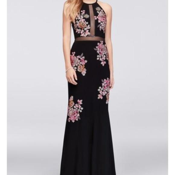 a631d0bf Xscape Dresses | Floral Halter Gown Black Size 2 85 | Poshmark